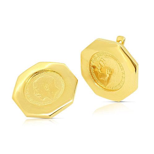 Octagon Frame 1/2 Sovereign Earrings