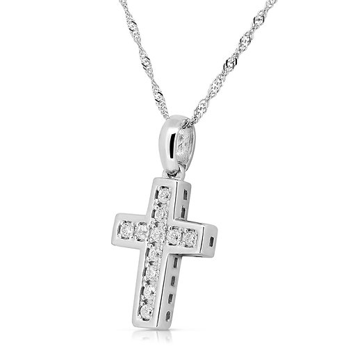 CZ Sterling Gold Cross Pendant