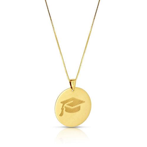 Graduation Engraved Gold Pendant