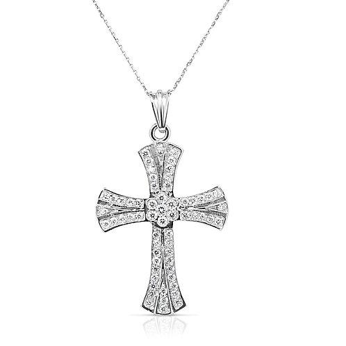 Bow Heads Pave Diamond Cross Pendant