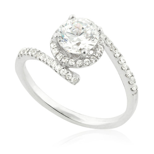 Pave Row Plate Engagement Ring