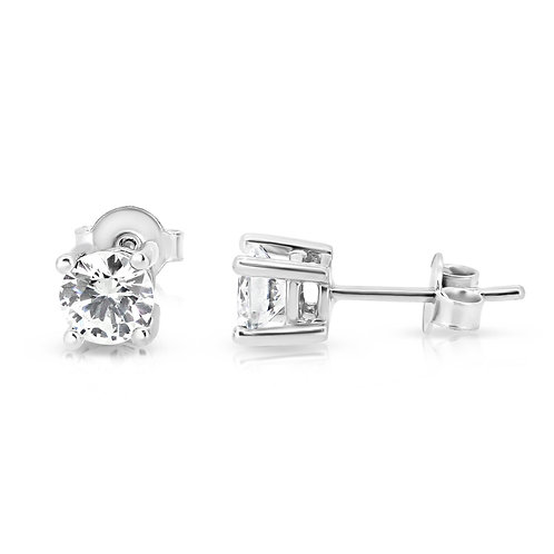 Cubic Zircon Solitaire Gold Earrings
