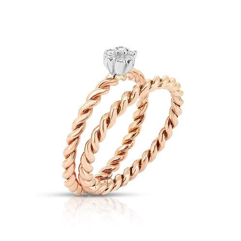 White & Rose Gold Ring Band Set