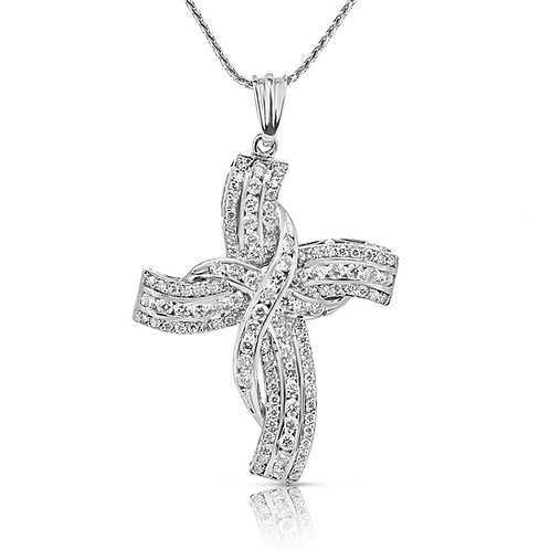 Twisted Sides Diamond Cross Pendant