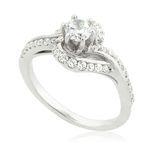 Pave Row Dreamer 6 Prong Ring