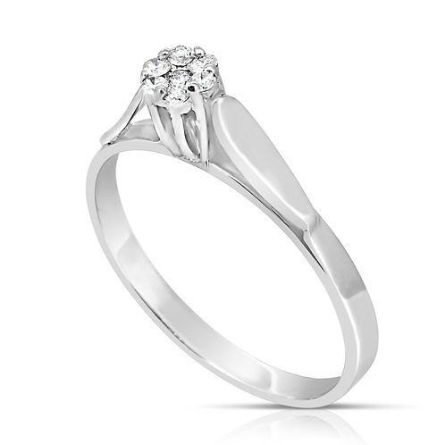 Pave Blossom Solitaire Diamond Ring