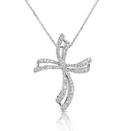Modern Wavy Diamond Cross Pendant