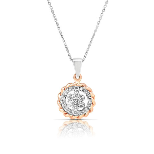 White & Rose Gold Oriental Pendant