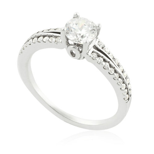 Modern soft two rows engagement Ring