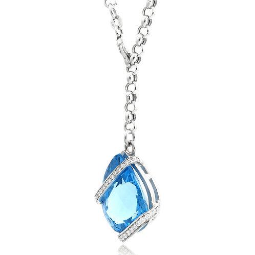 Nature Topaz GemStone, Diamond Pendant