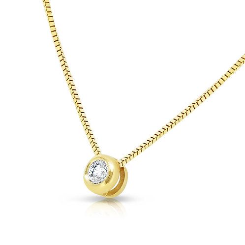 Yellow Gold Bezel Diamond Delicate Chain