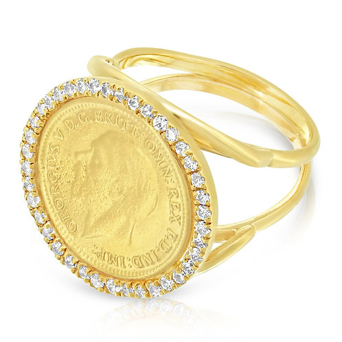 Split Shank Quarter Sovereign Ring