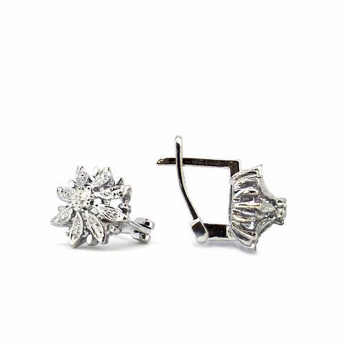 Diamond Flower Fulla Earrings, Art Nouveau
