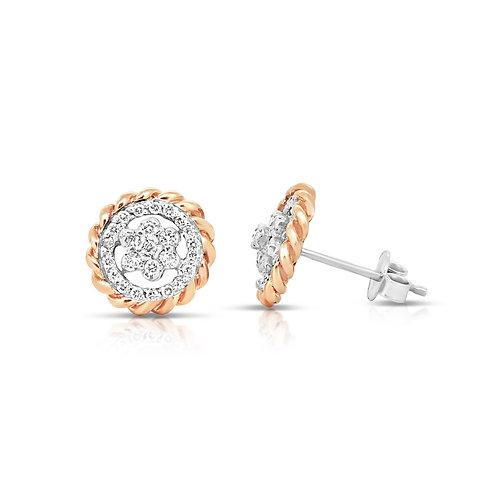 White & Rose Gold Stud Earrings