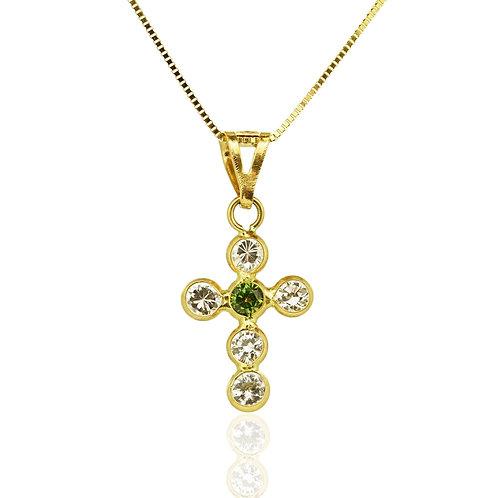 Gold Emerald Zirconia Cross Pendant