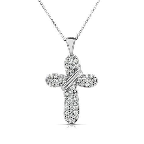 Thick Drops Scarf Diamond Cross Pendant