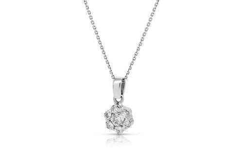 Grand Pave Blossom Solitaire Diamond Pendant