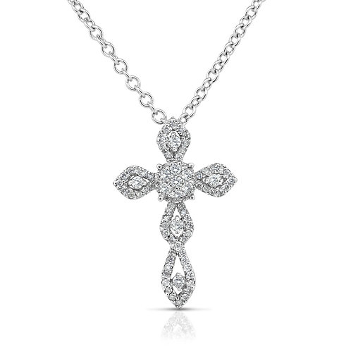 Diamond Inlaid Drops Cross Pendant