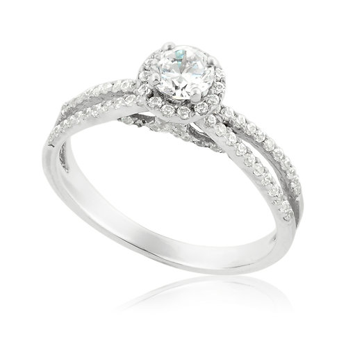 Lovely two rows engagement Ring