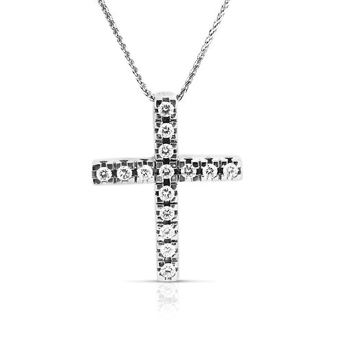 Simple Straight Diamond Cross Pendant