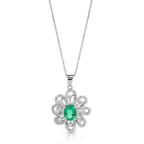 Oval Emerald Large Diamond Flower
