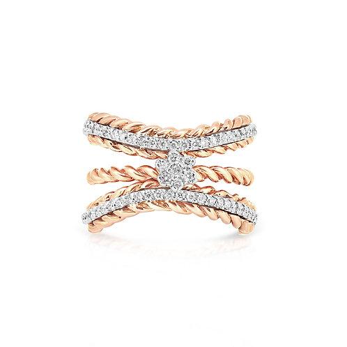 White & Rose Engagement Set Ring