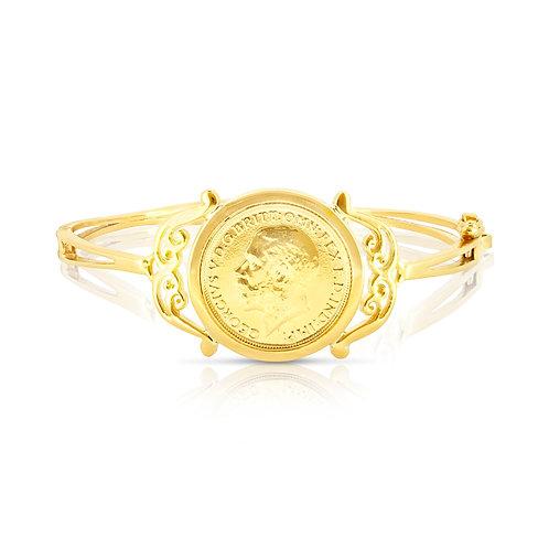Classic Decorated Border Golden Coin Bracelet