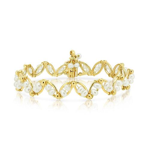 Gold & Pearl Helix Bracelet