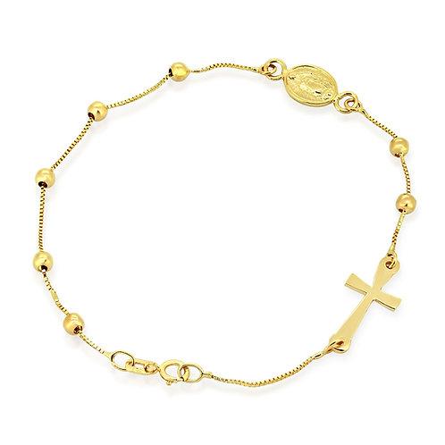 Gold Christian Bracelet Rosary Cross Bracelet