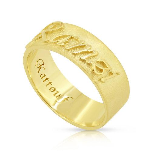 Customized EMBOSS Gold Wedding Band