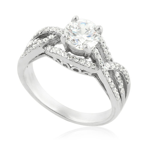 Three rows twisted engagement Ring