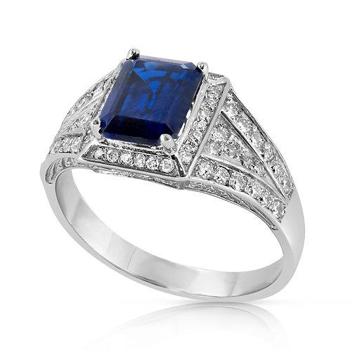 Emerald Cut Sapphire with Diamond Ring