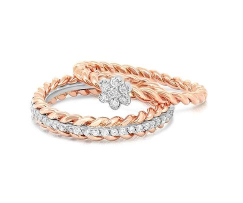 White & Rose Valentine's Ring Band