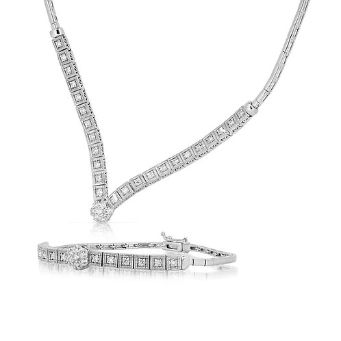 Flower Squares Bridal Diamond Set