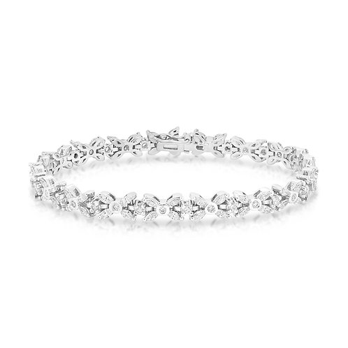 Marquise Tennis French Set Diamond Bracelet
