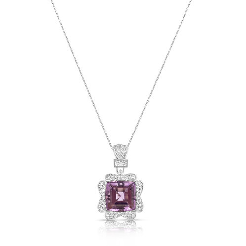 Premium Decorated Amethyst Diamond Pendant