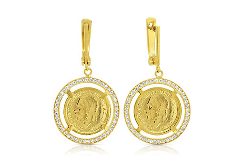 1/4 Sovereign Earrings, white CZ
