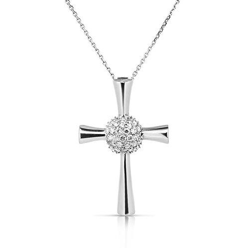 Centered Diamond Bouquet Cross Pendant