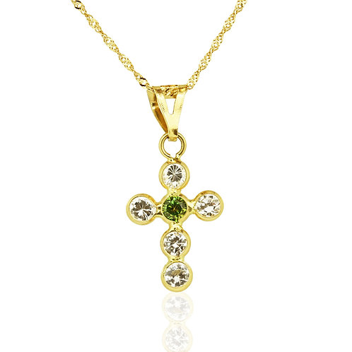 Gold Emerald Zirconia Cross Pendant