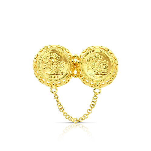 Double Arabesque Frame 1/4 Sovereign Brooch