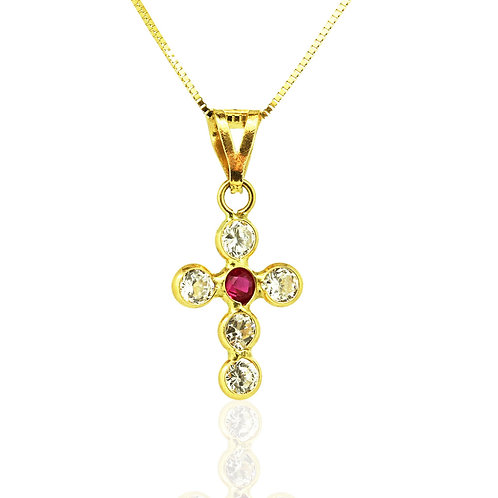 Gold Ruby Zirconia Cross Pendant