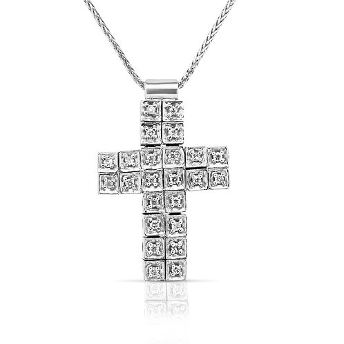 Dual Rows Flexible Squares Cross Pendant
