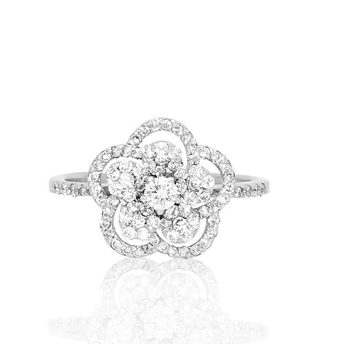 Pave Rising Flower Blossom Diamond Ring