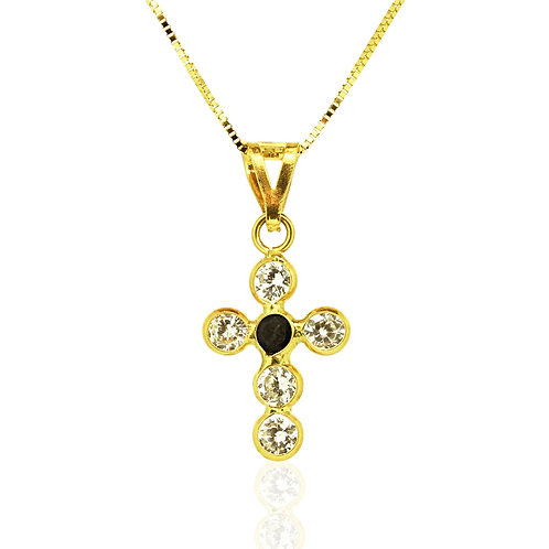 Gold Sapphire Zirconia Cross Pendant