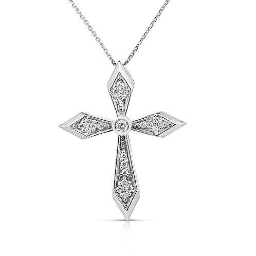 Sword Form Sides Diamond Cross Pendant