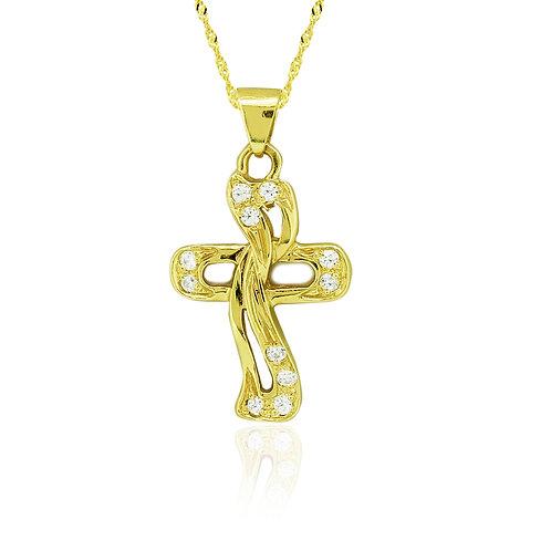 CZ Gold Cross Pendant