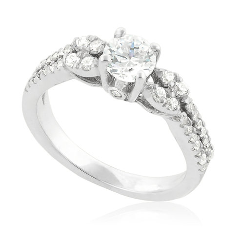 Classic soft two rows engagement Ring