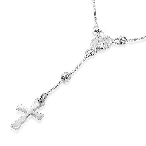 White Gold Christian Pendant Rosary