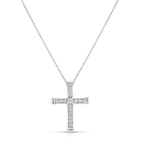Modern Channel Small Cross Pendant
