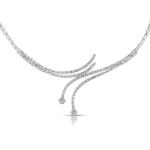 Twined Diamond Bridal Necklace Flower Heads